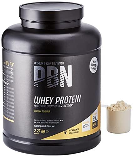 PBN Premium Body Nutrition - Proteína de suero de leche en polvo, 2.27 kg (Paquete de 1), sabor Plátano, sabor optimizado