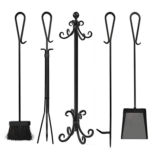 5 Pieces Fireplace Tools Tool Set, Wrought Iron Fire Set Fire Place Pit Poker Wood Stove Log Tongs Holder Tools Kit Sets, Black