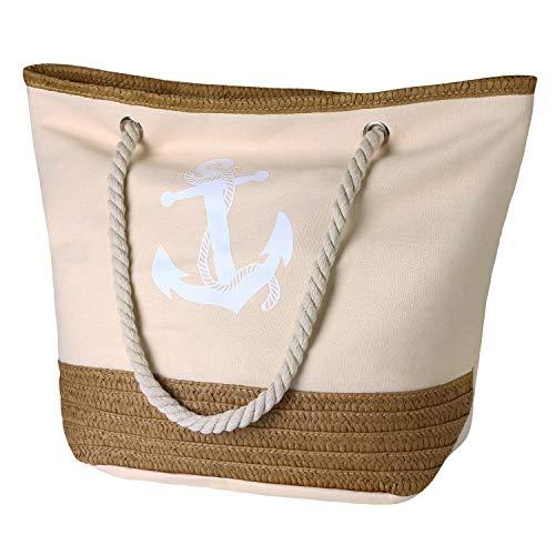 Flintronic Große Strandtasche mit Reißverschluss und Innentasche Wasserdicht Strandtasche, Einkaufstasche Shopper für Damen, Schultertasche Einkaufstasche - Beige