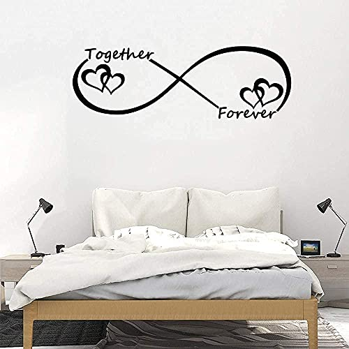 Pegatinas de pared de PVC extraíbles pegatinas de pared Forever Romantic Love Together Pegatinas de salón Decoración de pared Decoración de dormitorio Pegatinas de pared de 59 x 20 cm