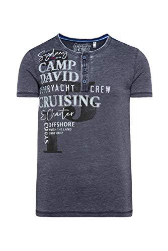 Camp David Herren Henley-Shirt mit Ausbrennern, Prints und Patches