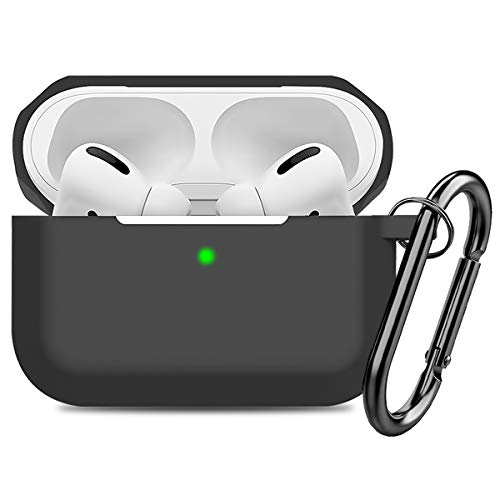 Compatible AirPods Pro Case Cover Silicone Protective Case Skin for Apple Airpod Pro 2019 (Front LED Visible) Black