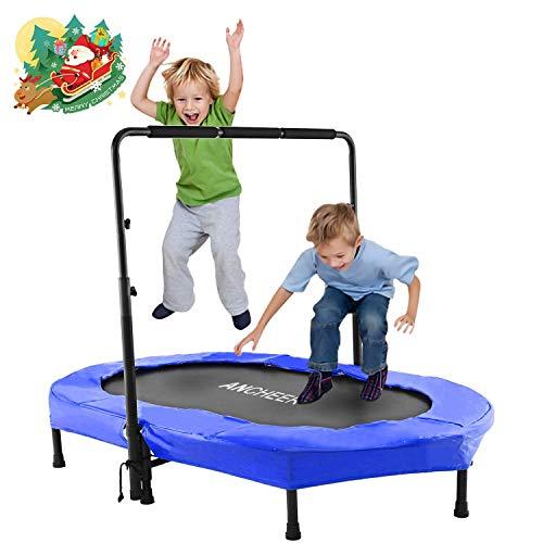 ANCHEER Kindertrampolin, Garten Trampolin für zwei Kinder Indoor / Outdoor zusammenklappbar mit verstellbarem Handlauf Eltern-Kind-Trampolin Fitness Maximale Gewicht Beträgt 100KG. (Blau)