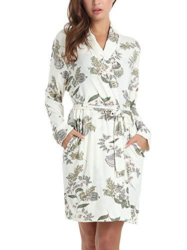 Womens Spa Bathrobe Short Soft Knee Length Robe,Night Spa Lounge, Modal Spandex Leaf Flower