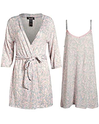 Rene Rofe Womens Hacci Knit and Chemise Nightgown and Robe Set (Blush Pink Hearts, X-Large)'