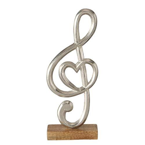 CasaJame Letra decorativa de clave de sol con corazón de metal de aluminio plateado sobre base de madera, decoración moderna, soporte 3D, altura 38 cm