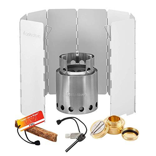 Solo Stove Pro Camping Stove Kit - Includes, Windscreen, Solo Alcohol Burner, Swedish FireSteel, Tinder-on-a-Rope. Great for Backpacking, Survival, Emergency Preparation.