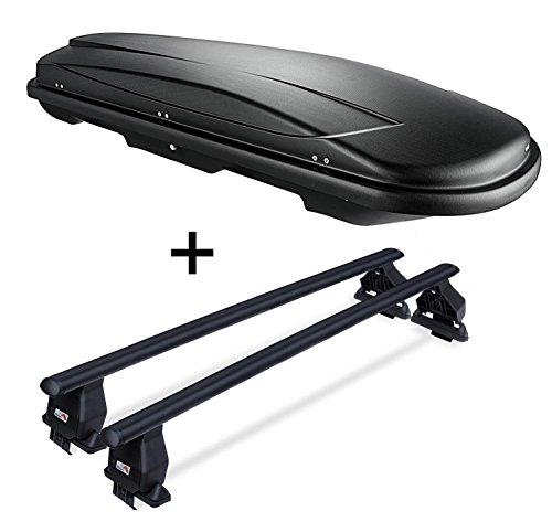 VDP Dachbox JUXT600 abschließbar 600 Ltr + Stahl Dachträger Menabo Tema kompatibel mit Mazda Cx-5 (SUV/Kombi 5 Türer) 2012-2015