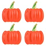 Luxshiny 4 Stücke Orange Serviettenringe Kürbis Deko Serviettenschnalle Metall Serviettenhalter Stoffservietten Ringe für Halloween Tischdeko Herbst Dekoration Erntedankfest Thanksgiving