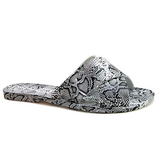 Qupid Line Sandals for Women - White & Black Snakeskin Print Slides - 7