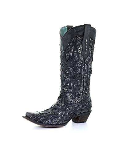 Corral Ld Black Glittered Inlay ,Size 8