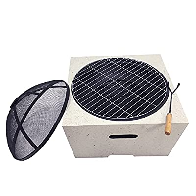 Fire Pit Fire Pit Table with Barbecue Grill, Outdoor Garden Square Barbecue fire Pit, Heater, ice Pit by Lijack