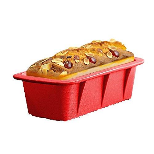 Hangnuo Rectangulaire de pain de Silicone Cuisson Pâtissière Moules gâteau Pan non-Stick, 26,5 x15x 6.4 cm rouge