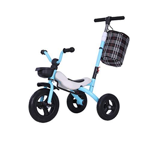 CNAJOI-TDFY Kinder-Dreirad mit Harley-Griff, Kinder-Sport-Trikes-Tretautos mit großem Heckkorb, 3-6-jährige Jungen-Mädchen-Aufsitzspielzeug-Roller mit Kinder-Push-Handle-Kinderwagen