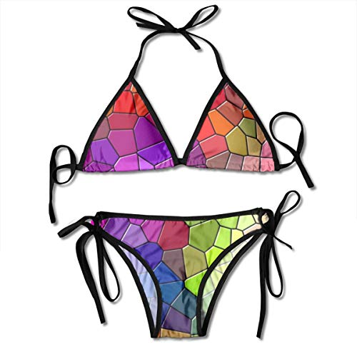 Mozaïek Veelkleurige Textuur Patronen Behang Vrouwen V-draad Gevoerde Geribbelde Gesneden Cami Bikini Set Twee Stuk Badpak Gepersonaliseerd