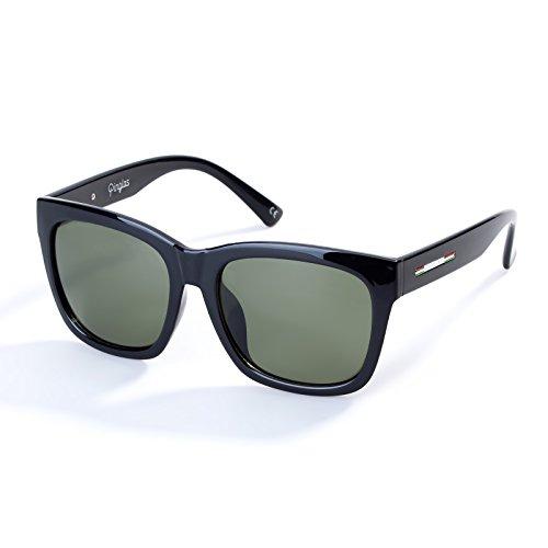 Colossein Classic Polarized Sunglasses For Men Square Black Frame Mirrored UV400 Lens(Dark Green)