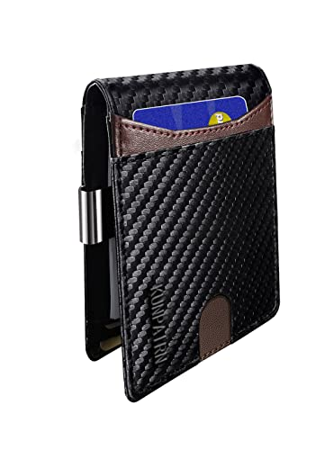 Mens Slim Wallets with Money Clip, 14 Slots RFID Blocking Front Pocket Bifold Leather Mens Wallet Minimalist,Credit Card Holder Wallets with Gift Box (Carbon Leather, Black/Brown)
