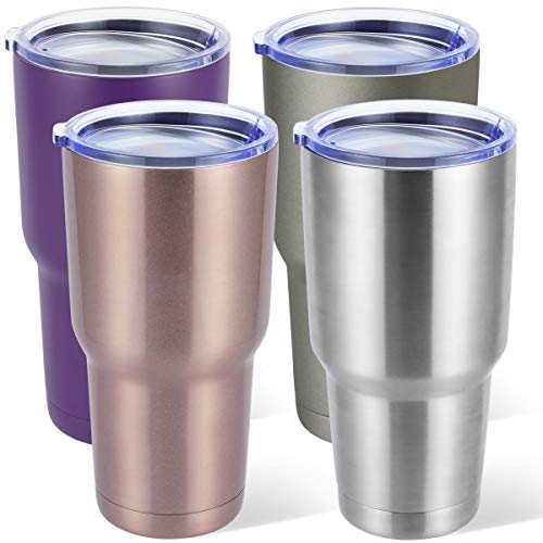 30 oz 4pack Stainless Steel Vacuum Insulated Tumbler Double Wall Travel Mug for Cold & Hot Drinks Coffee Tumbler with Lid (Combination color 2, 4pack)