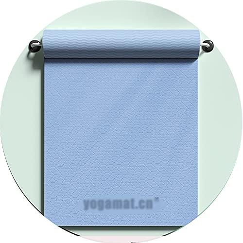 Esterilla Yoga Deporte, Antideslizante TPE Ecolgico Yoga Mat, Colchoneta Gimnasia Fitness Alfombrilla Gimnasio para Ejercicio en Casa, 183 * 61 * 0.6cm / blue / 6mm