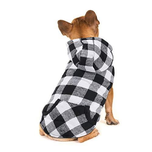 Idepet Plaid Dog Hoodie Shirt, Haustier Winterkleidung Weste Kostüme Warme, weiche Jacke für kleine, mittelgroße Hunde Katzen