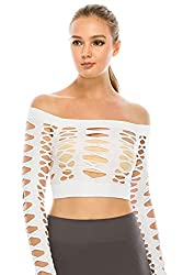 Kurve Women's Sexy Fishnet Top – Hybrid Cut Out Mesh Long Sleeve Crop Shirt