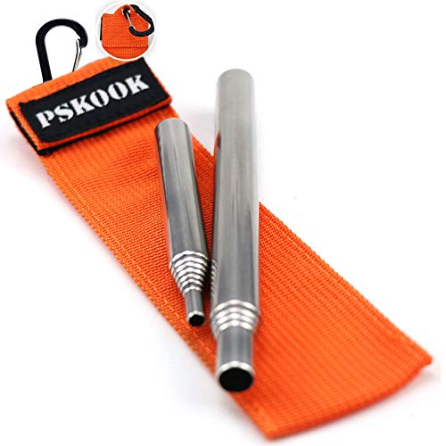 PSKOOK Pocket-Size Fire Bellows Collapsible Stainless Steel Fire Blower Pipe Builds Campfire Tool with Poly Carrying Bag or Clear Bag