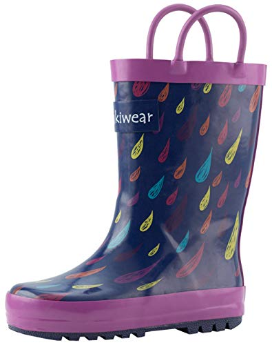 OAKI Kids Rain Boots with Easy-On Handles, Colorful Raindrops, 8T US Toddler