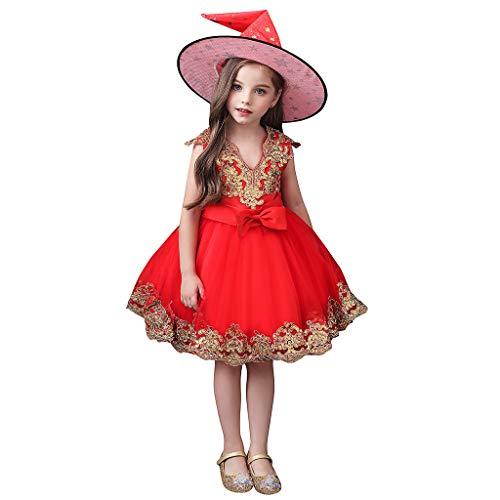 Halloween Verkleidung Kostüm Schule Cosplay Hexenhüte Outfits Mädchen Kinder Gestickte Tüll Tutu Rock Bogen Prinzessin Kleid Mädchen Kind ärmellos Niedlich Abschlussball Festliche Kleider