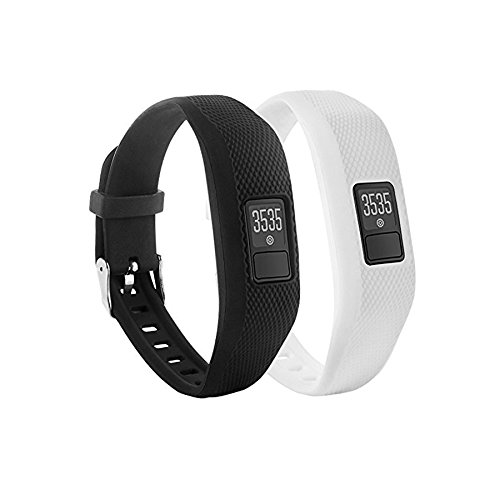 Bracelet de montre de remplacement avec fermoir Fit-power souple en silicone pour Garmin Vivofit 3 Fitness Bande (Pas de tracker), Pack of 2