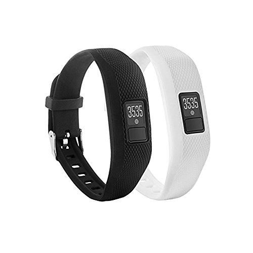 Fit-Power - Ersatz-Bänder für Garmin Vivofit 3 / Vivofit JR, Silikon, für Garmin Vivofit 3 JR (ohne Tracker), schwarz/weiß