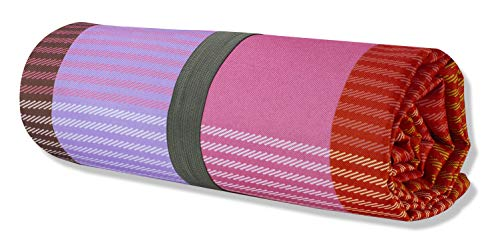 Kate Spade New York Large Picnic Mat Colorful Outdoor Blanket Fits Up to 4 Adults Rainbow Plaid