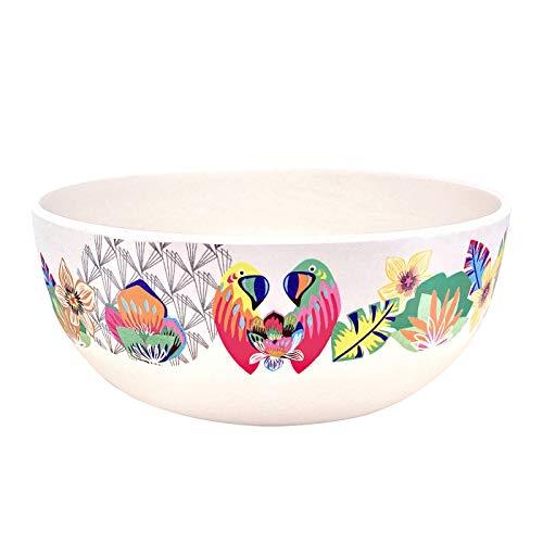 Les Jardins de la Comtesse – Cuencos de bambú – Set de 4 – Ø 15 cm – tema «loros» – Para pequeño almuerzo, sopa o aperitivo – Muy resistente – Diseño colorido – Vajilla ecológica sin BPA