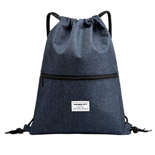 i-uend 💎💎 Einfarbiger wasserdichter Rucksack mit Reißverschluss, Mode unisex wasserdicht Reißverschluss gebunden Seil Reise Sport Rucksack Tasche