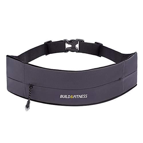 Build & Fitness Laufgürtel mit YKK Reißverschluss - Verstellbare Taillenweite, Schlüsselclip - Passt für Alle Smartphones, Schlüssel, Karten - Bauchtasche Damen und Herren - Laufen, Walken, Sport