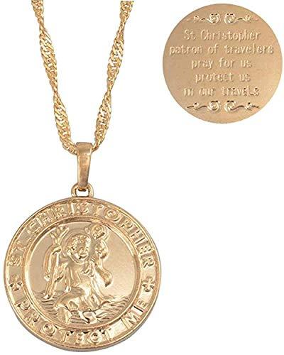 ZJJLWL Co.,ltd Necklace St. Christopher Protect Me Necklaces for Women Light Gold/Silver Color Saint Christophe Pendant Religious Jewelry