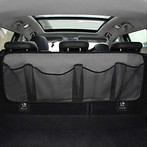 AuLyly Kofferraum Aufbewahrungstasche/Sitzaufhängetasche, Aufbewahrungsnetz Hohe Kapazität/Autoschuhe, Basketballausrüstung Tasche Netz Im KofferraumGrau
