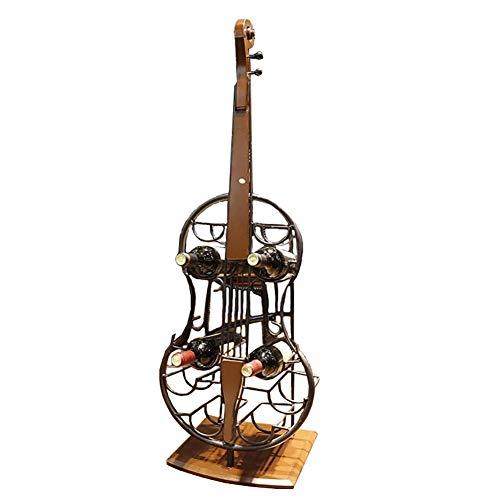 BTJJ American Loft Eisen Dekorative Weinregal, Bar Und Restaurant Kreative Cello-Verzierung Weinregal (36 × 28 × 106 cm)