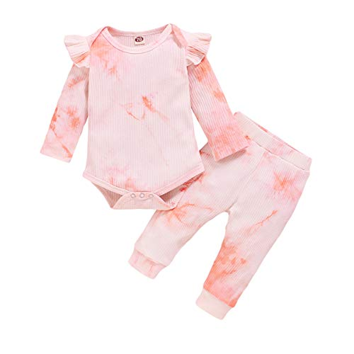 Toddler Baby Girls Outfits Fall Winter Clothes Infant Long Sleeve Ruffle Tie Dye Top & Pants Sets (D4, 0-6 Months)