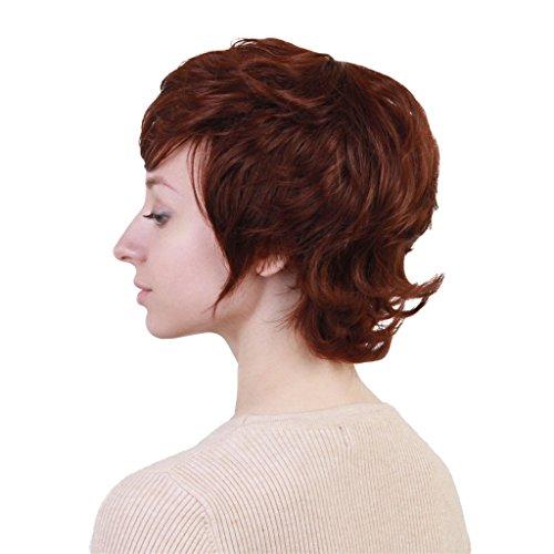 MERIGLARE Femmes Brunes Courtes Perruques De Vrais Cheveux Humains Bouclés Pixie Cut Cosplay Perruque Net Cap