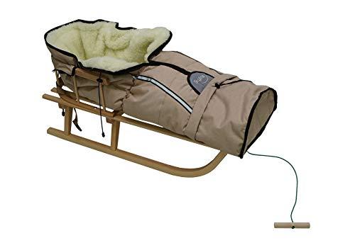Holzschlitten für Kinder mit Rückenlehne Rodelschlitten Davoser Schlitten aus Holz mit einem Sicherheitsgurt, Rückenlehne, Winterfußsack für Kinder (Beige)
