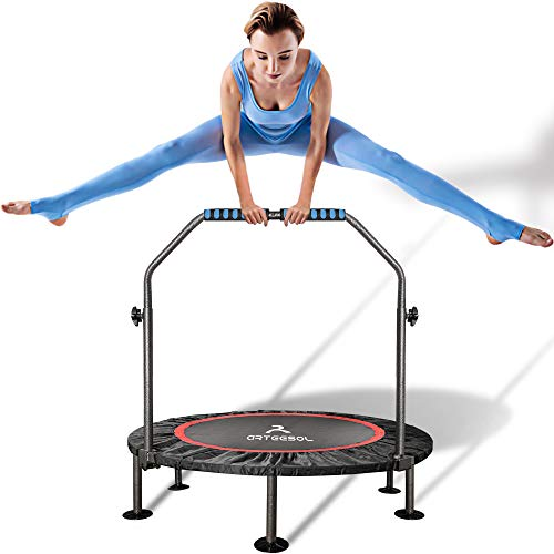 arteesol Mini Trampoline 40-inch Rebounder Indoor Foldable Noiseless Small Trampoline with Safety Pad, Adjustable Foam Handle for Kids Adults Outdoor Exercise Fitness Trampoline (Day Dream)
