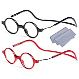 2 Pezzi Magnetici Occhiali da Vista Lettura Donna e Uomo +2.5(60-64 Anni) Rotondi Vintage Montatura Regolabili Pieghevoli Leggeri Chiusura Calamita, Stanghette per Appendere al Collo