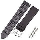 Uhr Ersatz Armband Uhrenband Armband 18 20 22mm Männer Frauen Wasserdichte Atmungsaktive Uhren Uhren Uhren Uhr Zubehör (Band Color : Smooth Black, Band Width : 20mm)