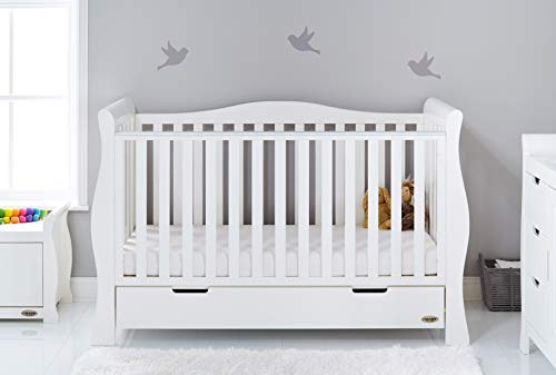 Obaby Stamford Sleigh Luxe Cot Bed - White