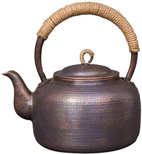 Tetera de hierro fundido Hervidor de té silbido de 4,5 litros Hervidor de té de cobre martillado de gran capacidad para estufa Tetera de té para acampar en el hogar