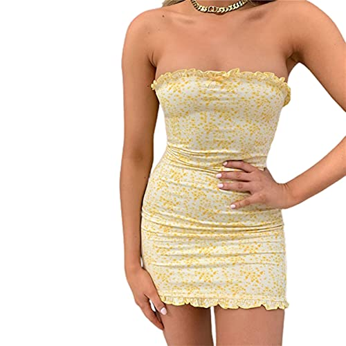 2021 Fashion Trend Women Sexy Off-Shoulder Dress Casual Tight Flower Printing Low Collar Bodycon Mini Dress