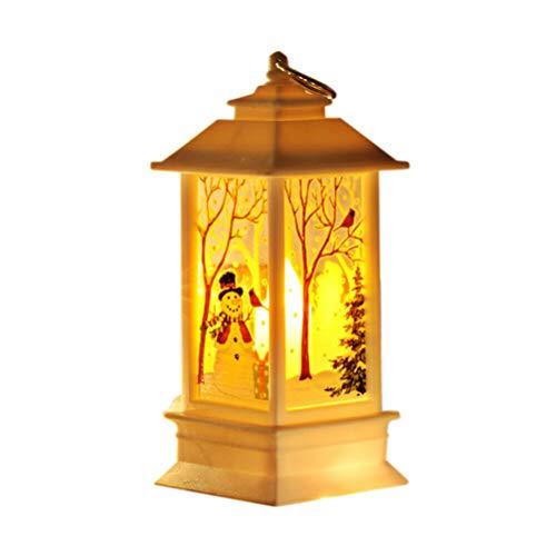 Goefly Lume di Candela a LED di Natale, Luci notturne a lume di Candela Lampade da tè Decorazione Natalizia con Lanterna di Cervo Pupazzo di Neve