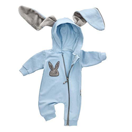 Baby Sweets Baby Tier-Strampler Unisex Hellblau im Motiv: Hase/Baby-Overall als Tierstrampler mit Kapuze für Neugeborene & Kleinkinder in der Größe 3-6 Monate (68)