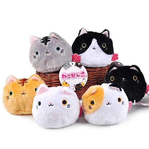 DishyKooker 6 Unidades/Lote 7 cm Kawaii Cartoon Gato Negro Peluche Juguete Suave japonés Colgante Llavero Regalo muñeca niños Juguetes espectáculo