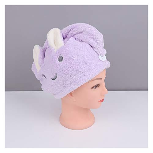 Sombrero Cabello Seco Casa textil toalla linda dibujos animados bordado toalla de pelo toallas de baño toallas baño microfibra sólido rápido seco sombrero de pelo ( Color : Purple , Size : 25x65cm )